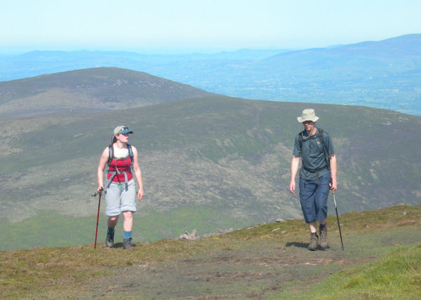 Claire and Sid enjoying a nice morning high on the Knockmealdowns.