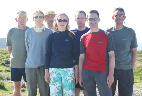 The Magnificent Seven: Tom, Kevin, Paschal, Deirdre, Colm, Aidan and Ian at the finish line.