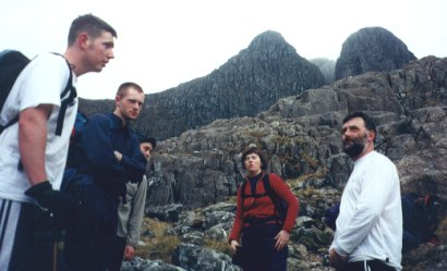 Gary Sinnott, Colm Ennis, Betty Guilfoyle and Paschal Guilfoyle after descending into Stob Coire nam Beith valley with Central Gully and the Church Gate Buttress in the background.