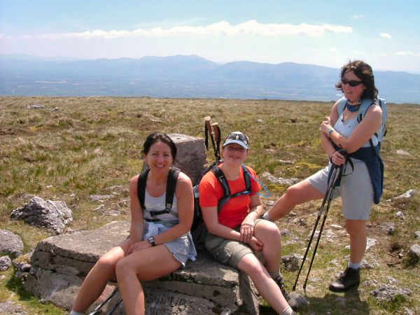 Ger, Claire and Siobhan take a breather on An Grianan.