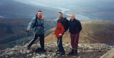 Gary Sinnott, Ian Sinnott and Tom Casey of the 13th overlooking Meall an tSuidhe on the ascent of Ben Nevis.
