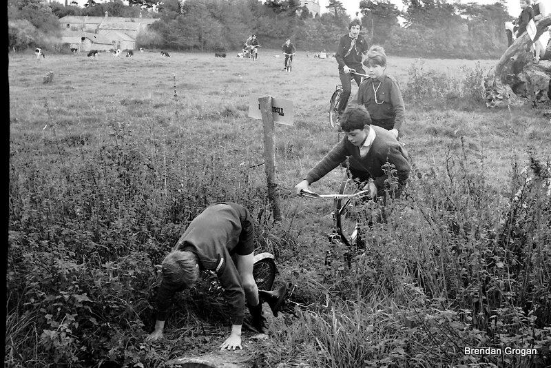 Archive picture from Oct. 1970, casualty at Beechers Brook on the Cyclo Cross in Faithlegg...(Tony Hearne, Domnic Breen, Brian Power)
