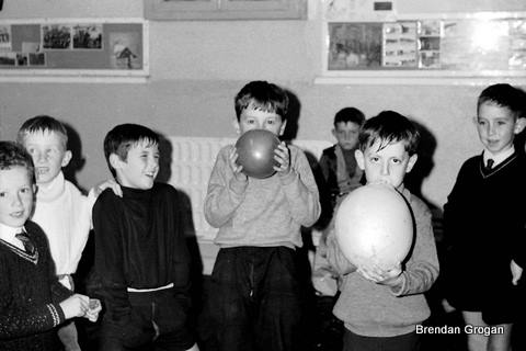 Baloon bursting competition, 3rd Macaoimh Halloween party 1970.. 3rd from left, Jimmy Farrell, others yet to claim their place in the hall of fame....