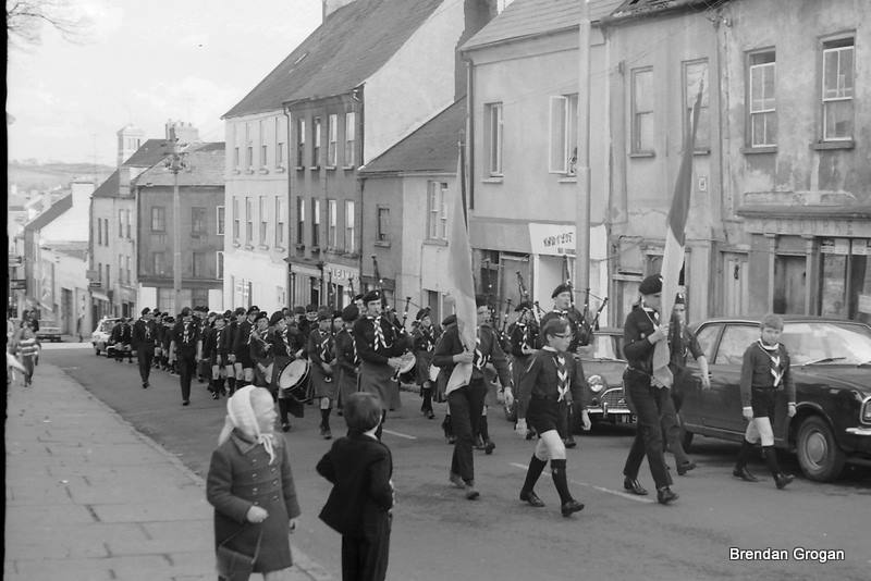 De La Salle Scout Unit returning from Parade, on Patrick Street June 1971, headed by the Pipe Band.....