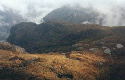 Looking back down into Coire nan Lochan with the Lost Valley in the background.