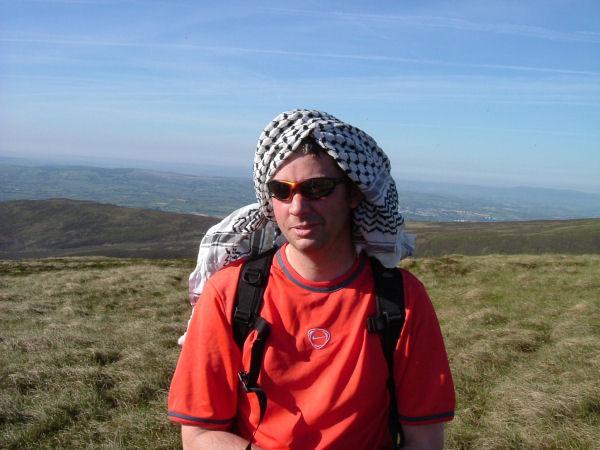 Sid tries to escape the heat with his turban.